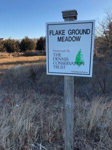 Dennis location, Flake Ground Meadow sign