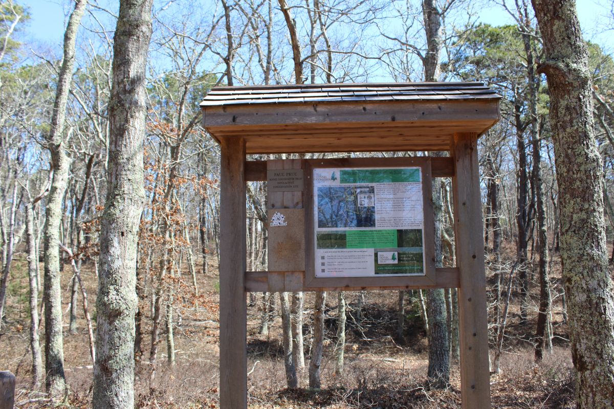 Trailhead sign for Dorothy Connors Bell conservation area